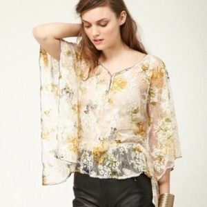 Free People Chrissy Lace Kimono Top Yellow Lace S